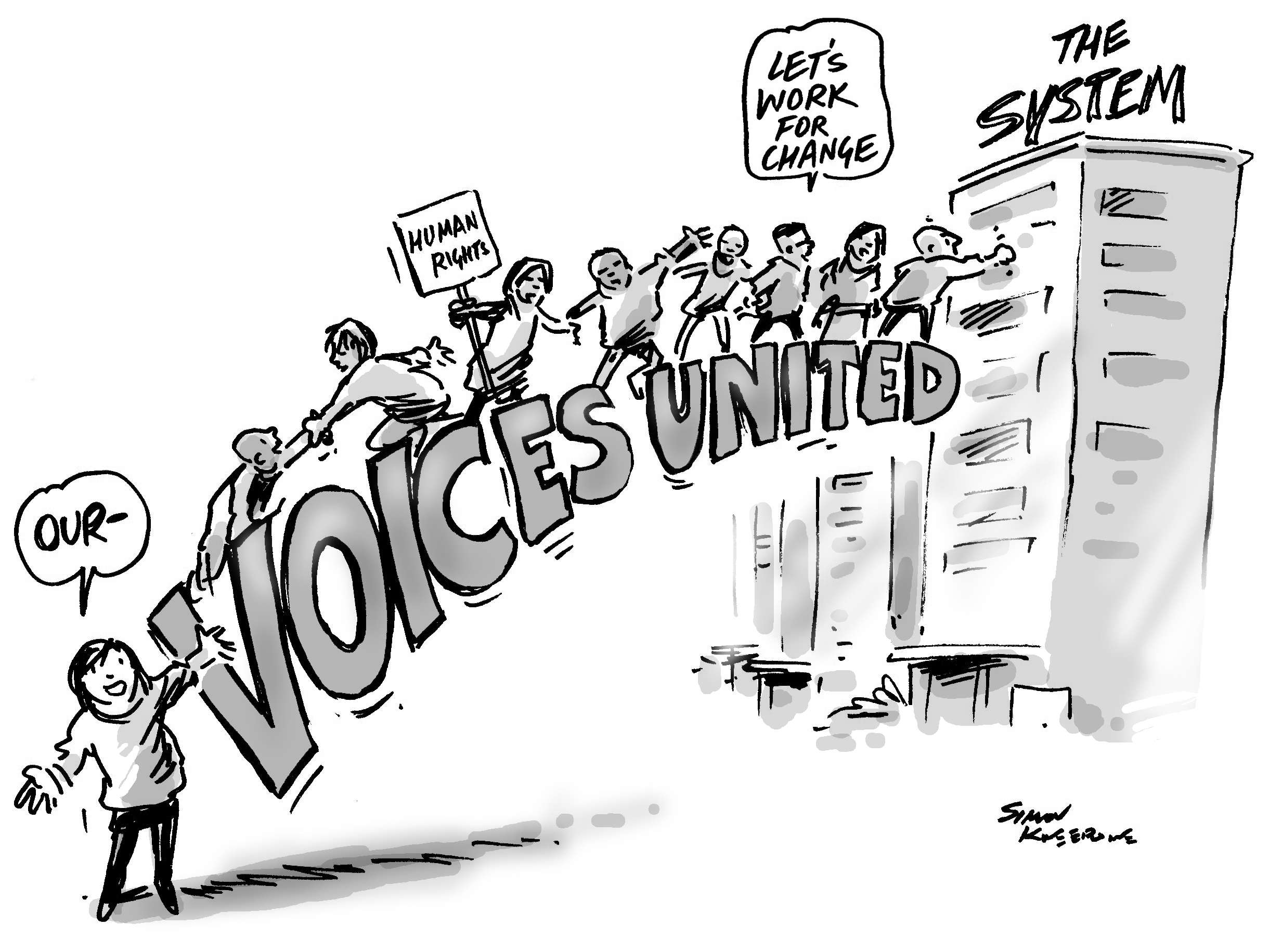 Our Voice cartoon shows people united to overcome the system