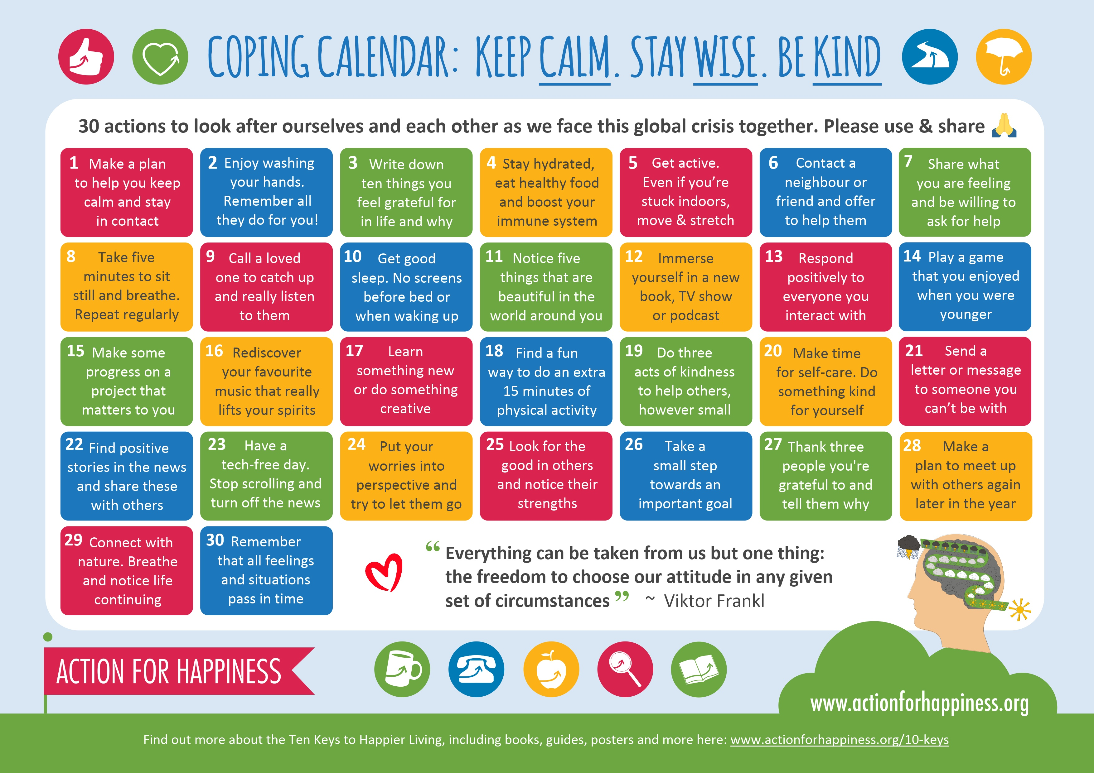 Image shows a Coping Calendar with 30 ideas on self care, by Action for Happiness.
